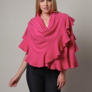 NWOT Magaschoni Pink Cashmere Ruffle Wrap Shawl